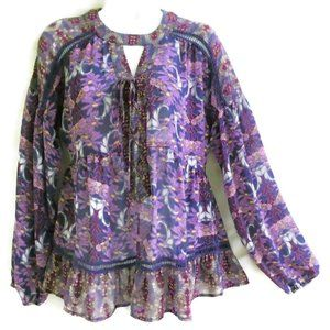 Gypsy Peasant Blouse Purple Floral Lace Inset Ruff
